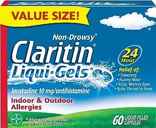 Claritin Liqui-Gels 24 Hour Allergy Relief, Non-Drowsy Allergy Medicine, Loratadine Antihistamine Capsules, 60 Count