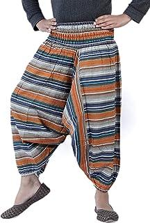 Sarjana Handicrafts Pantalones harén para niños de algodón a rayas para niñas y niños, bohemio, hippie, unisex