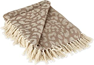 DII CAMZ38920 Modern Cotton Luxury Leopard Print Blanket Throw with Fringe For Chair, Couch, Picnic, Camping, Beach, Every...