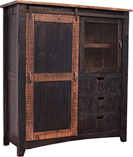 RR Distressed Black Sturdy Solid Wood Anton Sliding Barn Door Gentlemans Chest Armoire. Arrives Fully Assembled and Features Upgraded Dovetail Drawers with Ball Bearing Glides