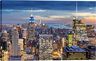 IslamicArtPoint New York Skyline on Canvas/Collection of Times Square, Brooklyn Bridge and City Inside Option (City Ariel View)