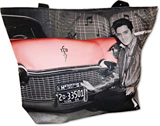 Elvis Presley Tote Bag With Pink Cadillac