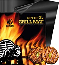 BBQ Grill Mat Non Stick - Heavy Duty BBQ Grilling Mats for Gas Grill or Charcoal - Nonstick Grill Mats for Easy Use - Reusable Set of 2
