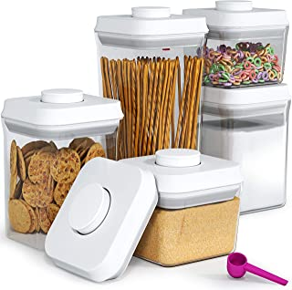 Pop&Lock Air Tight Food Storage Containers - Pop 5-Piece Premium Pantry Space Saving Canisters - Cereal, Flour, Sugar, Pasta, Rice - Hanging Lids And FREE Scoop - 7 Yr Warranty