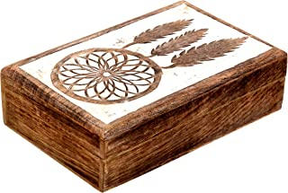 SAAGA Multipurpose Decorative Wooden Jewelry Trinket Holder Keepsake Storage Box with Dream Catcher Carving/Handmade : 8x5.5x2.5 inches (LxBxH)