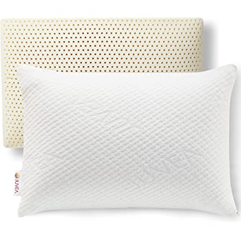 JUVEA Pillow Talalay Latex Pillow - High Loft Latex Foam Pillow with Machine Washable Organic Cotton Cover | Medium Firm Natural Latex Firm Pillows for Sleeping | Side Sleeper Pillow & Stomach Sleeper