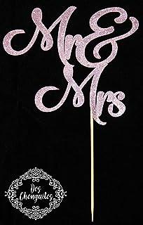 Dos Chonguitos Mr & Mrs Cake Topper Prime - Rose Gold Glitter Cardstock Double Sided Cake Topper, Wedding Cake Topper, Rou...
