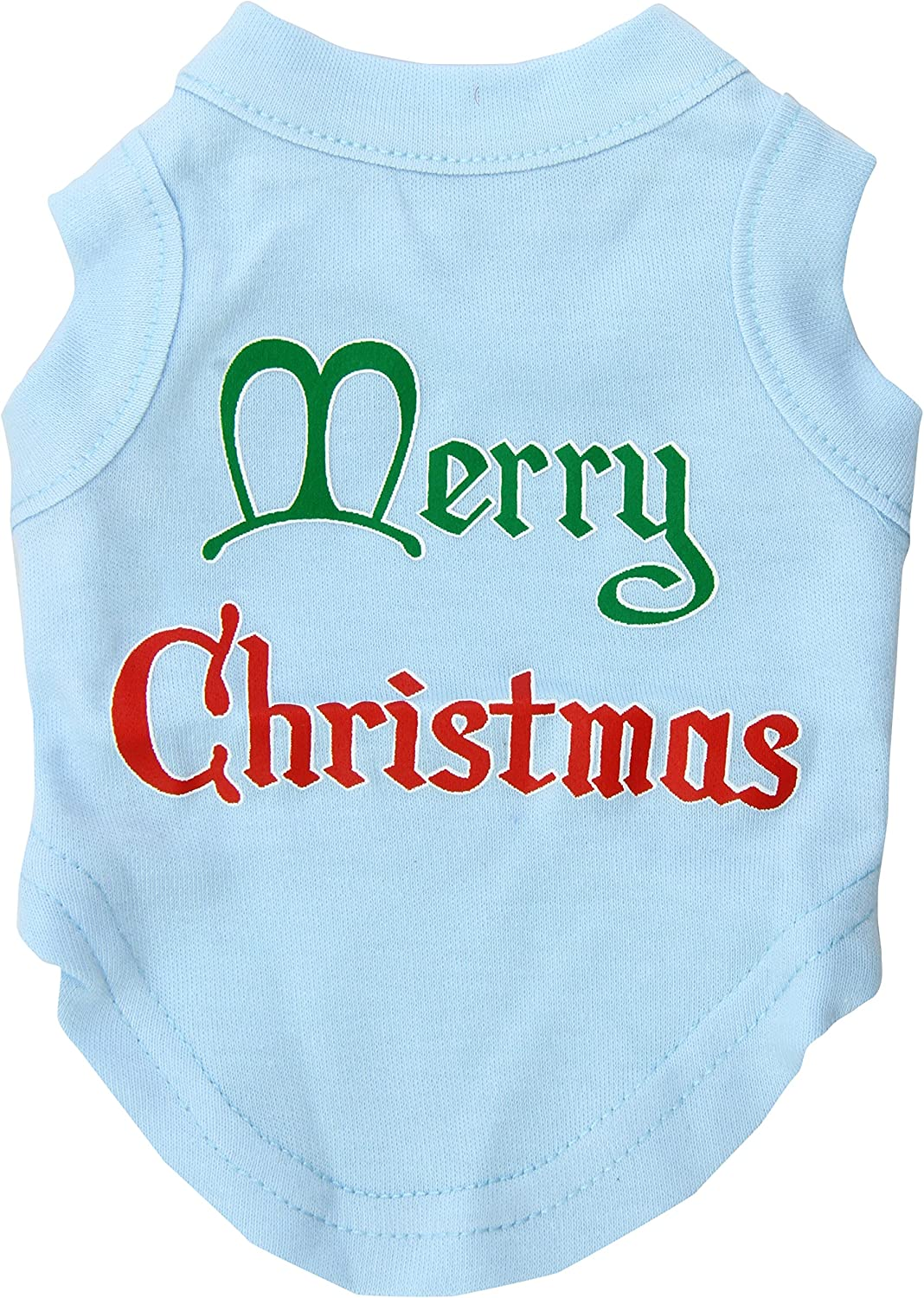 Mirage Pet Products 8Inch Merry Christmas Screen Print Shirts for Pets, XSmall, Baby bluee