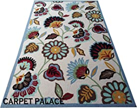 Carpet Palace Indian Handwoven Pure Woolen 0.5 Inch Loop Pile Carpets Collection 180x275cms(6x9) Color Ivore/Multi