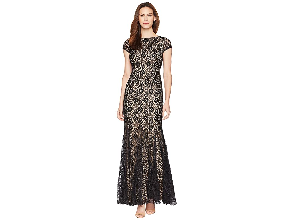 Adrianna Papell Beaded Long Dress (Black/Nude) Women
