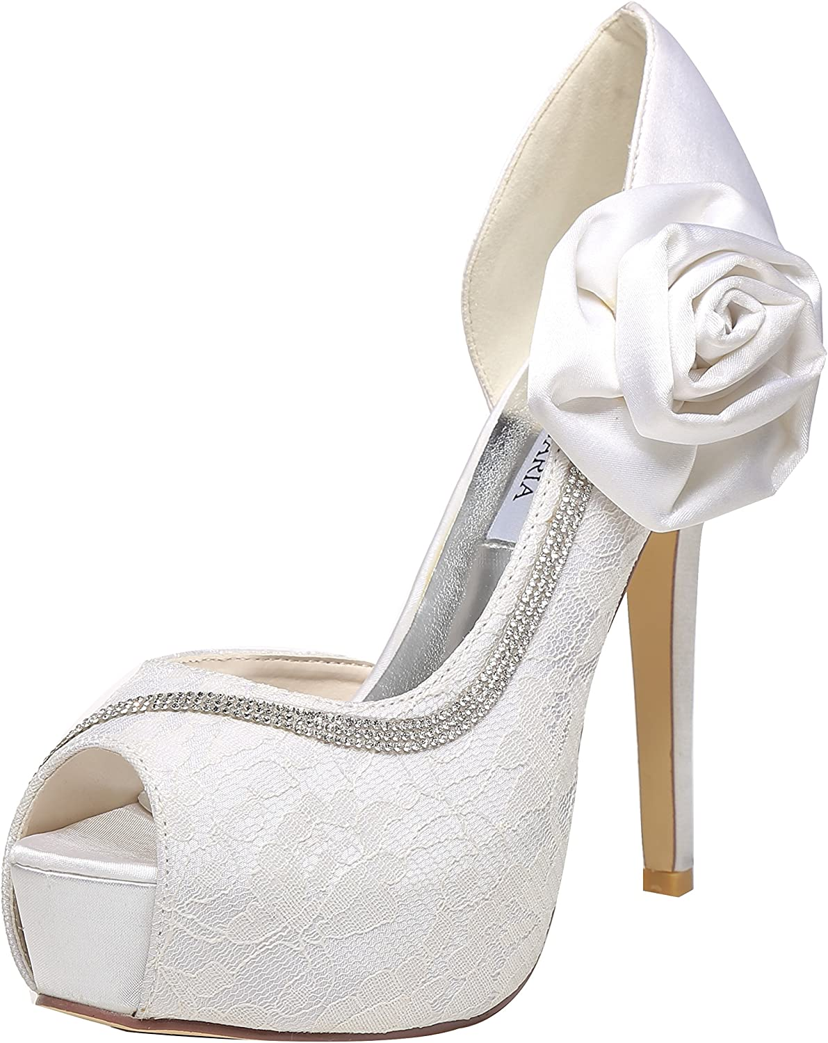 M MULGARIA Women's Peep Toe Platform Pump High Heel D'Orsay Flowers Lace Wedding Bridal Rhinestone shoes