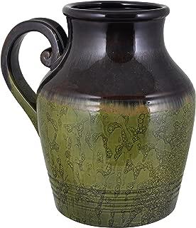 Essential Decor Entrada Collection Ceramic Vase Olive Green 11.5-Inch
