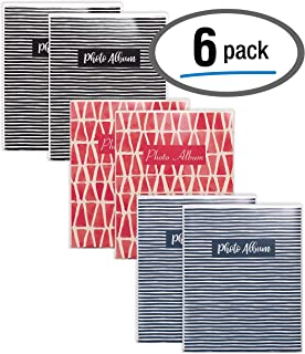 36 Photo Mini Photo Album, 4 x 6 Inch, Pack of 6, Flexible Cover with Removable Decorative Inserts, Clear View Front Cover, by Better Office Products, 6 Pack