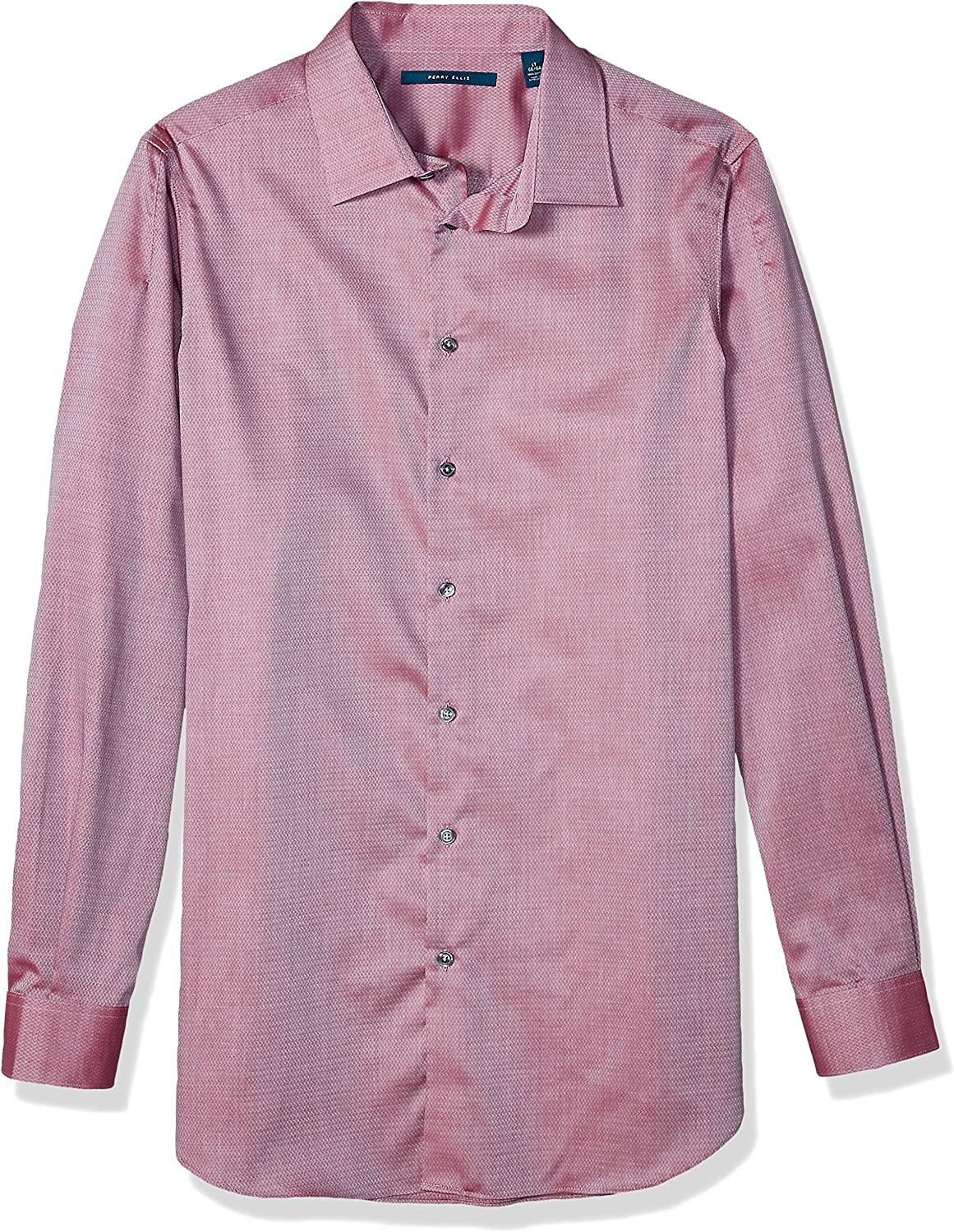 Perry Ellis Men's Big and Tall Dobby Solid Long Sleeve Button-Down Shirt