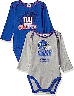 0741280fa NFL New York Giants Unisex-Baby 2-Pack Long-Sleeve Bodysuits, Blue