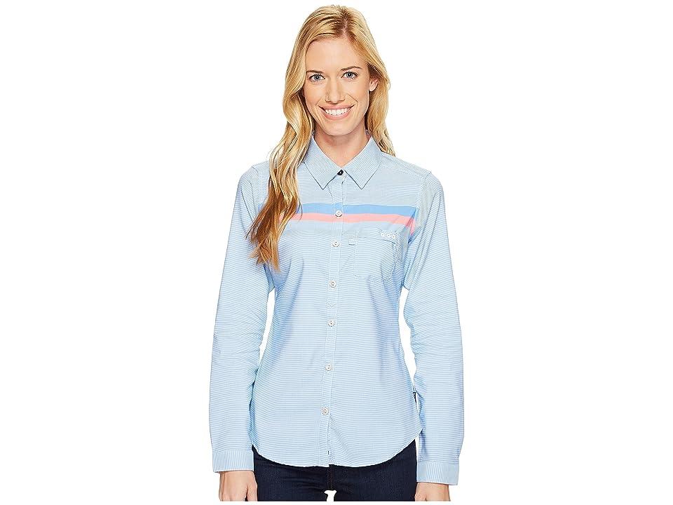 Columbia Super Harborside Woven Long Sleeve Shirt (Harbor Blue Stripe/Lollipop) Women's Long Sleeve Button Up