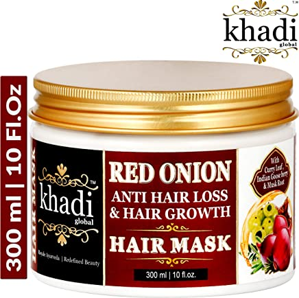 Khadi Global Red Onion Oil Anti Hair Loss & Hair Growth Deep Conditioning Hair Mask 300ml | 10 Fl.Oz | Best Hair Growth Hair Mask | Prevents Extreme Hair Fall | Luxurious – Natural – Safe Yet Powerful