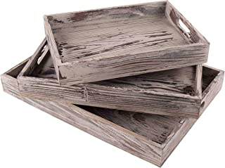 Decorative Natural Wood Serving Tray - Rustic Vintage Style- Set of 3 Different Sizes