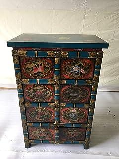 Antik BF60343 Armoire de bureau style ancien avec 8 tiroirs 62 x 95 cm
