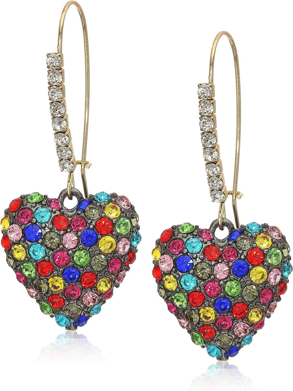 Betsey Johnson Stone Heart Dangle Earrings