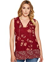 Lucky Brand - Plus Size Paisley Border Tank Top