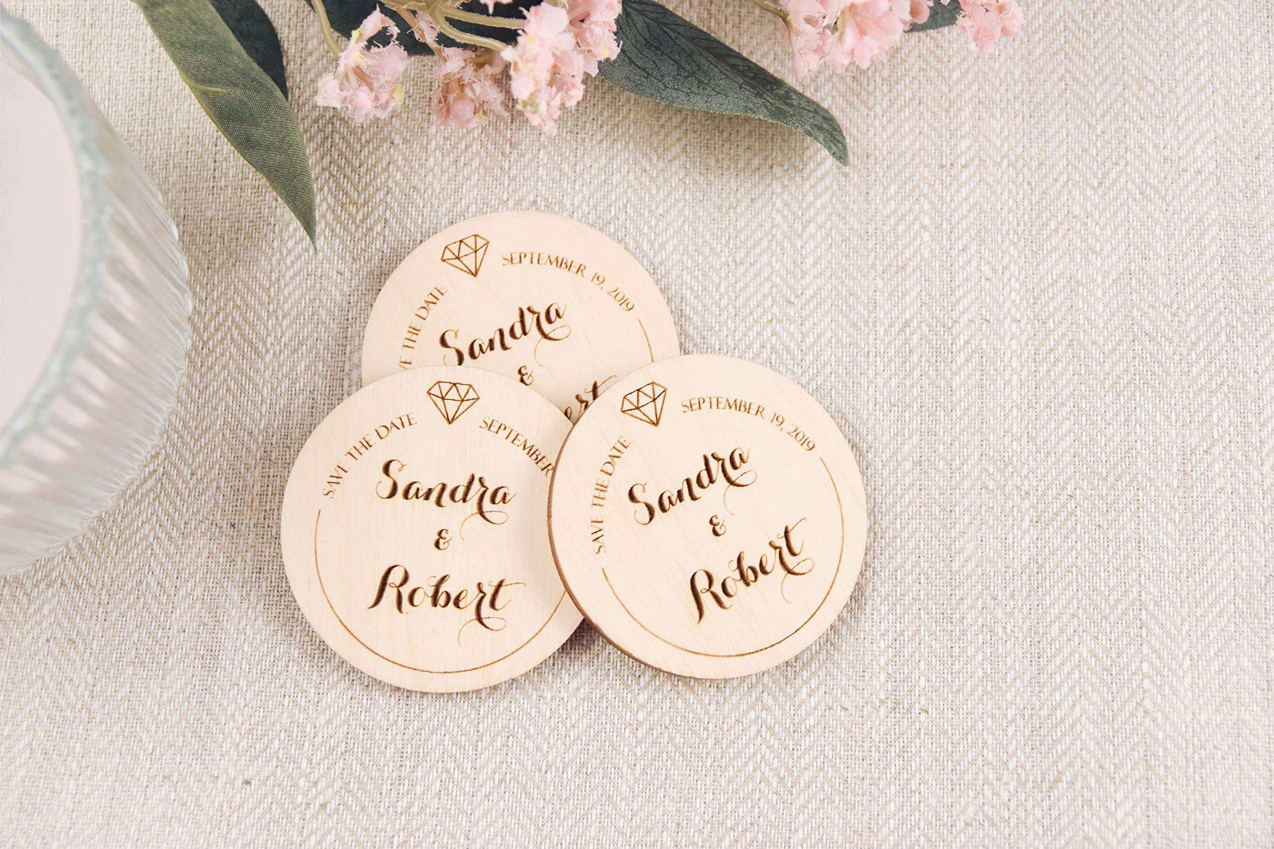 Wedding Save The Date Personalized Save The Date Wood Heart Wooden Rustic Wedding Save The Date Magnet Customized Wedding Gigt Hearts Tags
