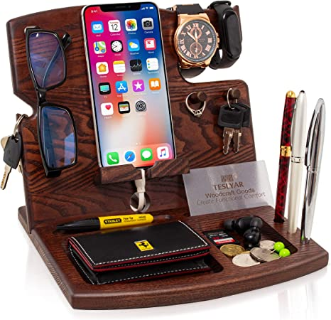 Wood Phone Docking Station Hooks Key Holder Wallet Watch Stand Watch Organizer Men Gift