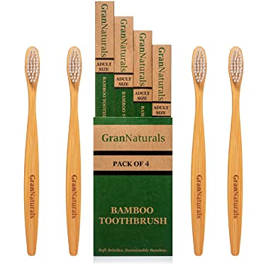 GranNaturals Bamboo Toothbrush - Wooden, Eco-Conscious No BPA Alternative to Plastic Toothbrushes - Firm Compostable Wood Handle with Medium Bristles for Removing Plaque - Adult Size Pack of 4 Brushes