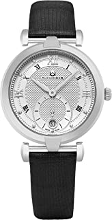Alexander Monarch Olympias Date Silver Large Face Watch for Women - Swiss Quartz Stainless Steel Black Satin Leather Band Elegant Ladies Dress Watch A202-02