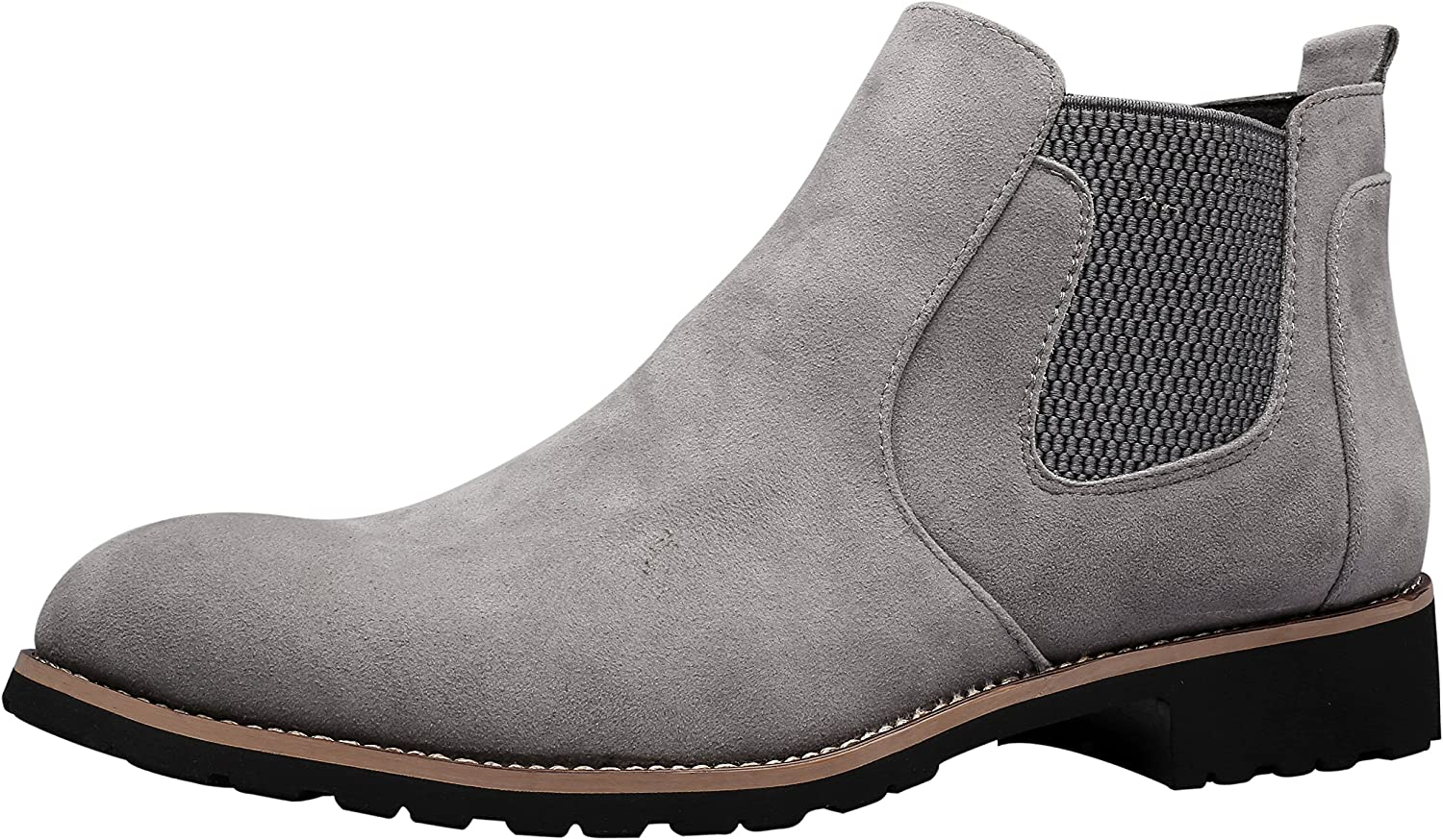 Santimon Chelsea Boots Men Suede Ankle Boots Casual Chukka Slip-on Dress Formal shoes