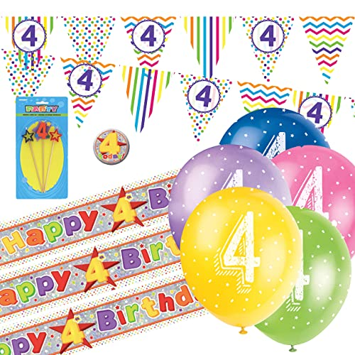 "20 X 4th BIRTHDAY GIRL BALLOONS /""4 TODAY/"" BIRTHDAY BALLOONS MIX PINK PA"