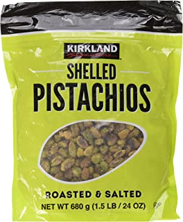 Kirkland Signature Nuts, Shelled Pistachios Roasted & Salted 24 Ounce (Pack of 1)