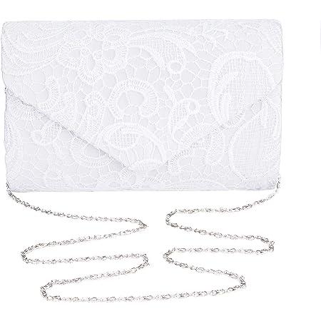 SYMALL Damen Spitze Clutch Abendtasche elegant Damentasche Handtasche Brauttasche mit Kette, Weiß
