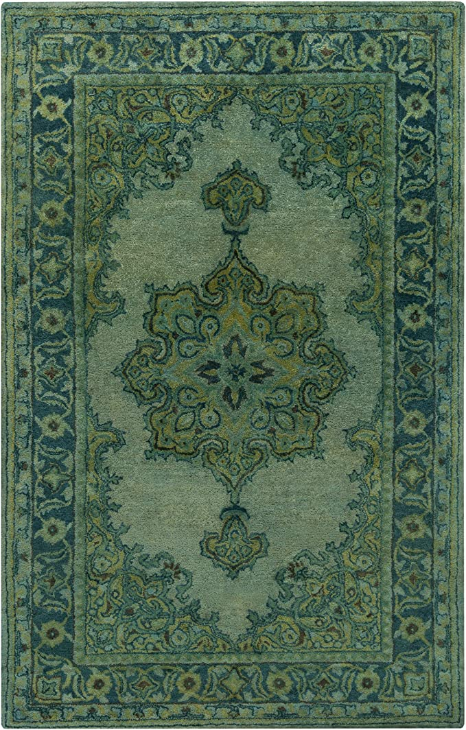 Amazon Com Surya Hand Tufted Casual Accent Rug 2 By 3 Feet Olive Teal Moss Furniture Decor