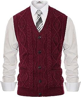 PJ PAUL JONES Men's Sweater Vest Cable Knitwear Cardigan V-Neck Waistcoat