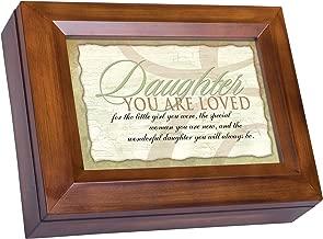 Cottage Garden Wonderful Daughter Dark Wood Finish Jewelry Music Box - Plays Tune You are My Sunshine