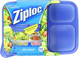 Ziploc Container, Divided Rectangle, 2-Count(Pack of 2)