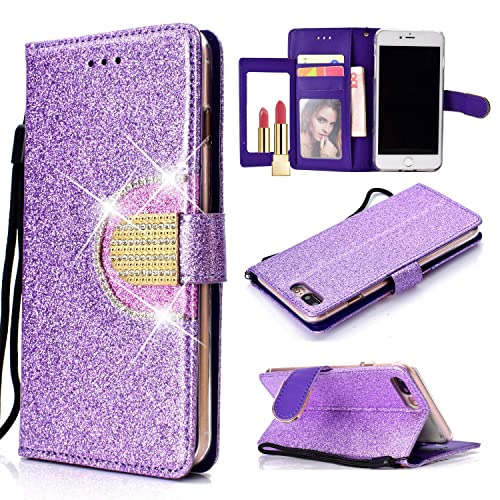 UEEBAI Wallet Flip Case for iPhone XS Max, Glitter PU Leather Cover with Mirror [Diamond Buckle] [Card Slots] [Magnetic Clasp] Stand Function Rhinestones Soft TPU Case for iPhone XS Max - Purple#2