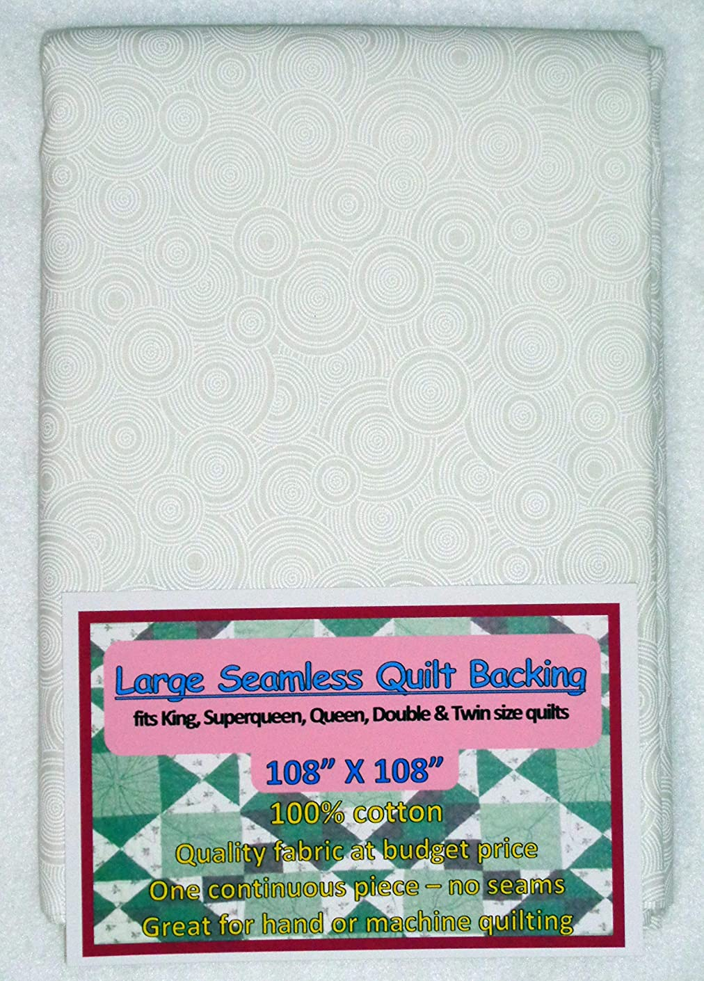 Quilt Backing, Large, Seamless, C48494-A03, White Rings