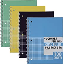 Emraw Quad Ruled Notebook Spiral with 100 Sheets White Paper - Set Includes: Blue, Black, Yellow, Green Covers (4 Pack)