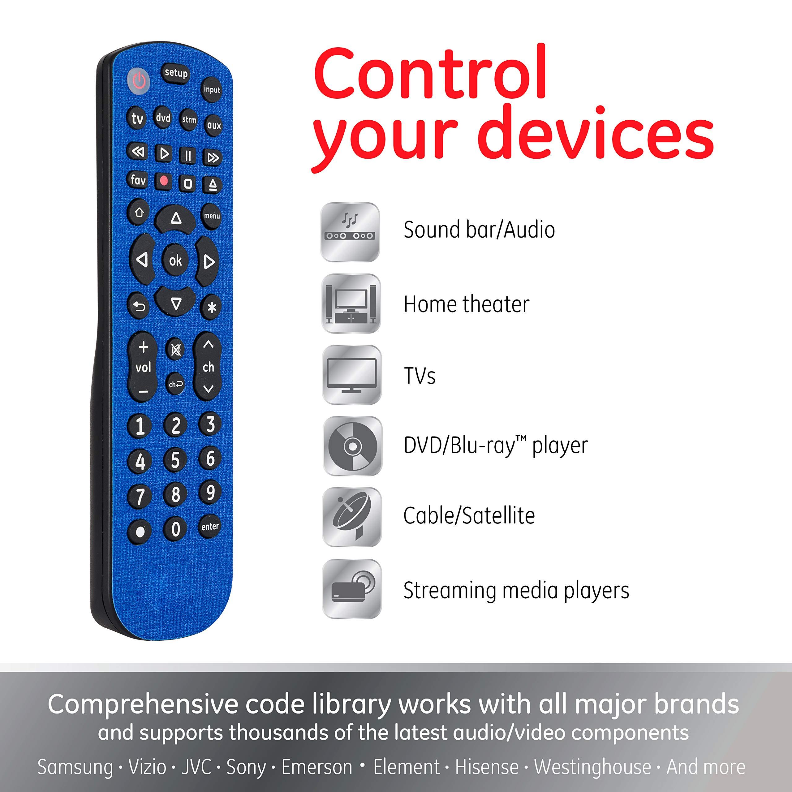 Amazon Com Ge Universal Remote For Samsung Vizio Lg Sony Sharp Roku Apple Tv Rca Panasonic Smart Tvs Streaming Players Blu Ray Dvd 4 Device Blue 46577 Cobalt Blue Electronics