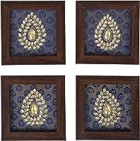 Roshni by Sunita Bali Hand Made Coasters on Brocade Silk with zardozi Embroidery Set of Four Coasters (Dark Blue)