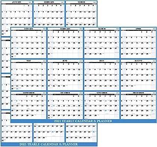 2021 Yearly Wall Calendar - 2021 Dry Erase Calendar with Julian Date, Jan. - Dec. 2021, Thick Paper, Vertical/Horizontal, ...