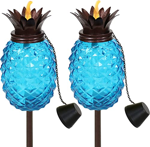 discount Sunnydaze Tropical Pineapple 3-in-1 Blue Glass Outdoor Torches - 23- sale to 63-Inch Adjustable Height - Glass Torches 2021 with Metal Poles - Great for Backyard Lighting and Entertaining - Set of 2 outlet sale