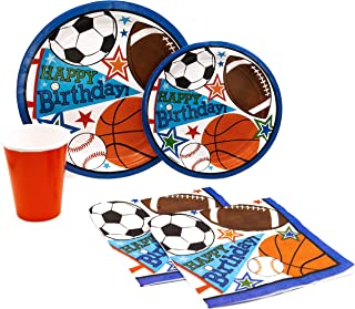 Happy Birthday Sports Pack! Disposable Paper Plates, Napkins and Cups Set for 15 (With free extras)