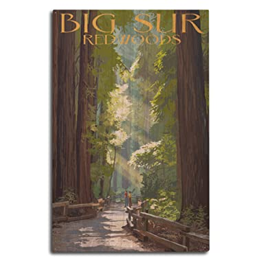 Lantern Press Big Sur, California - Pathway and Hikers (10x15 Wood Wall Sign, Wall Decor Ready to Hang)