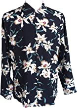 Paradise Found Mens Star Orchid Kamehameha Style Long Sleeve Shirt