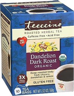 Teeccino Dandelion Tea – Dark Roast - Roasted Herbal Tea | Organic Roasted Dandelion Root | Prebiotic | Caffeine Free | Gl...