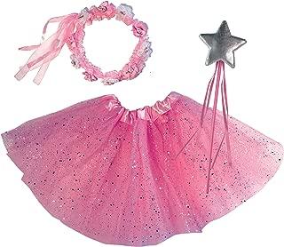 Princess Tutu Dress Up Costume - Fairy Ballerina Gift: Pink Tutu, Magic Wand, Flower Tiara/Crown for Girls