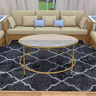TUP The Urban Port 36 Inches Contemporary Style Round Metal Framed Coffee Table with Glass Top, Gold and Clear,
